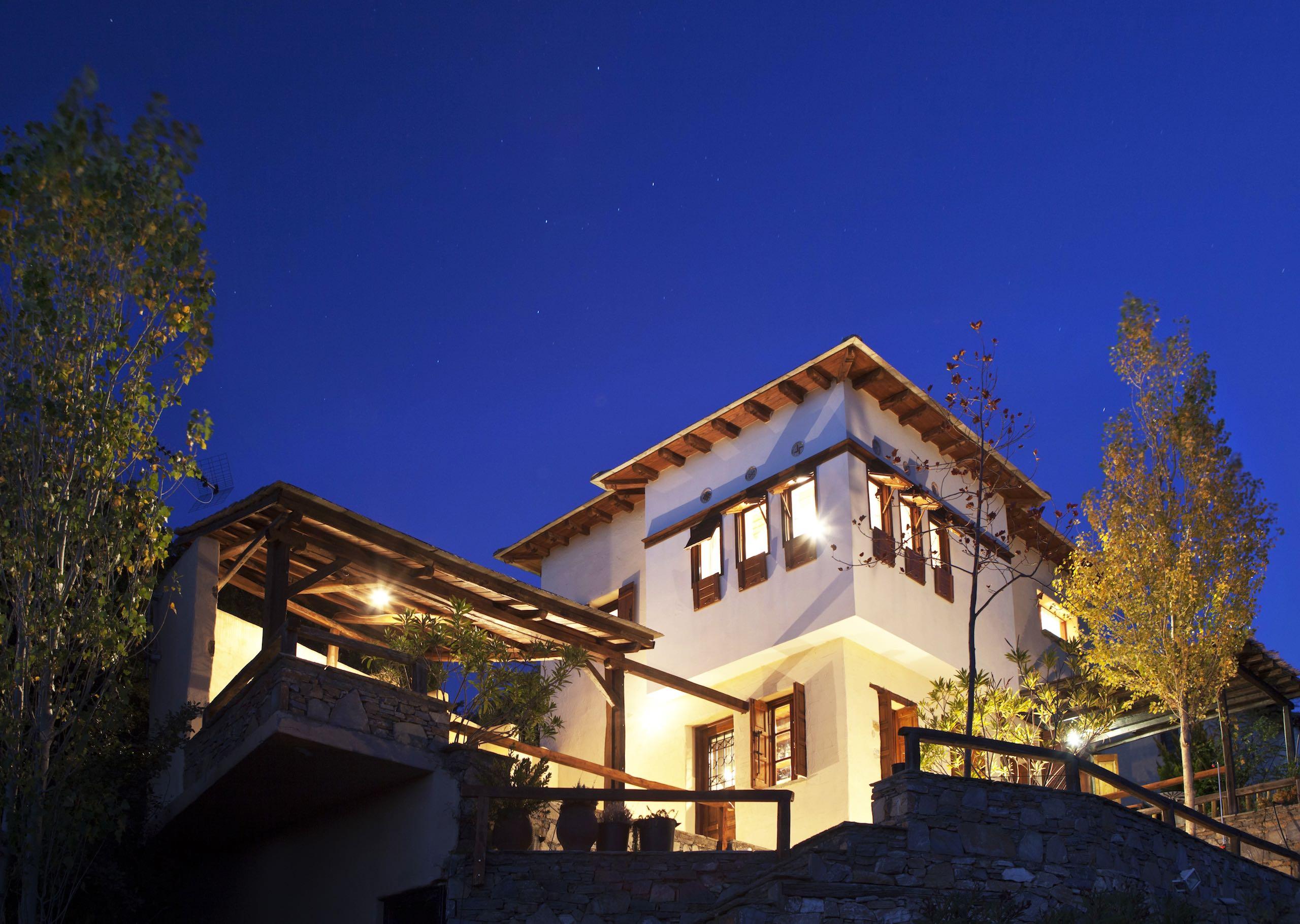Villa Selini by night. A Spacious Villa in Pelion with amazing sea views.