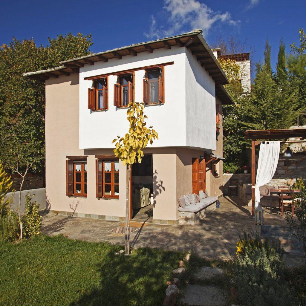 Pelion Family villas - The outside of the two level family villa with a garden, the Villa Dioni in Pelion.