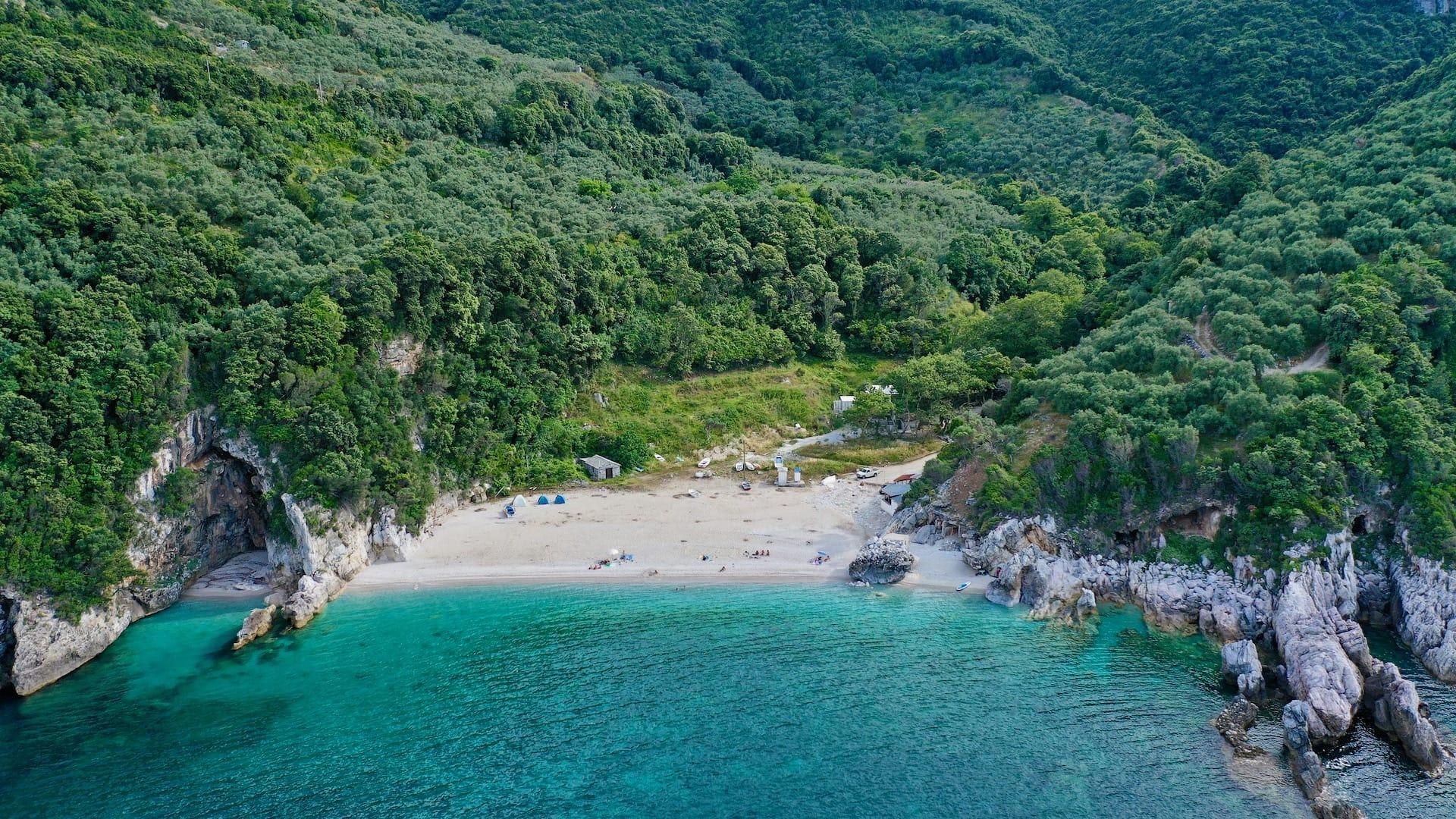 A birds eye photo of the stunning Limnionas beach in Pelion
