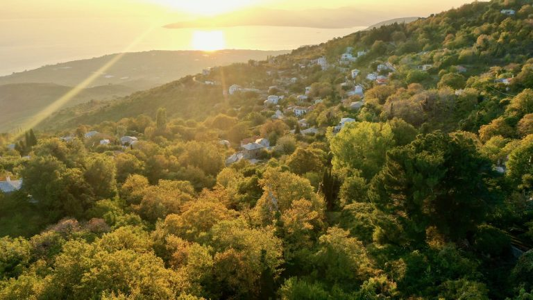 Drone shot of a village in Pelion