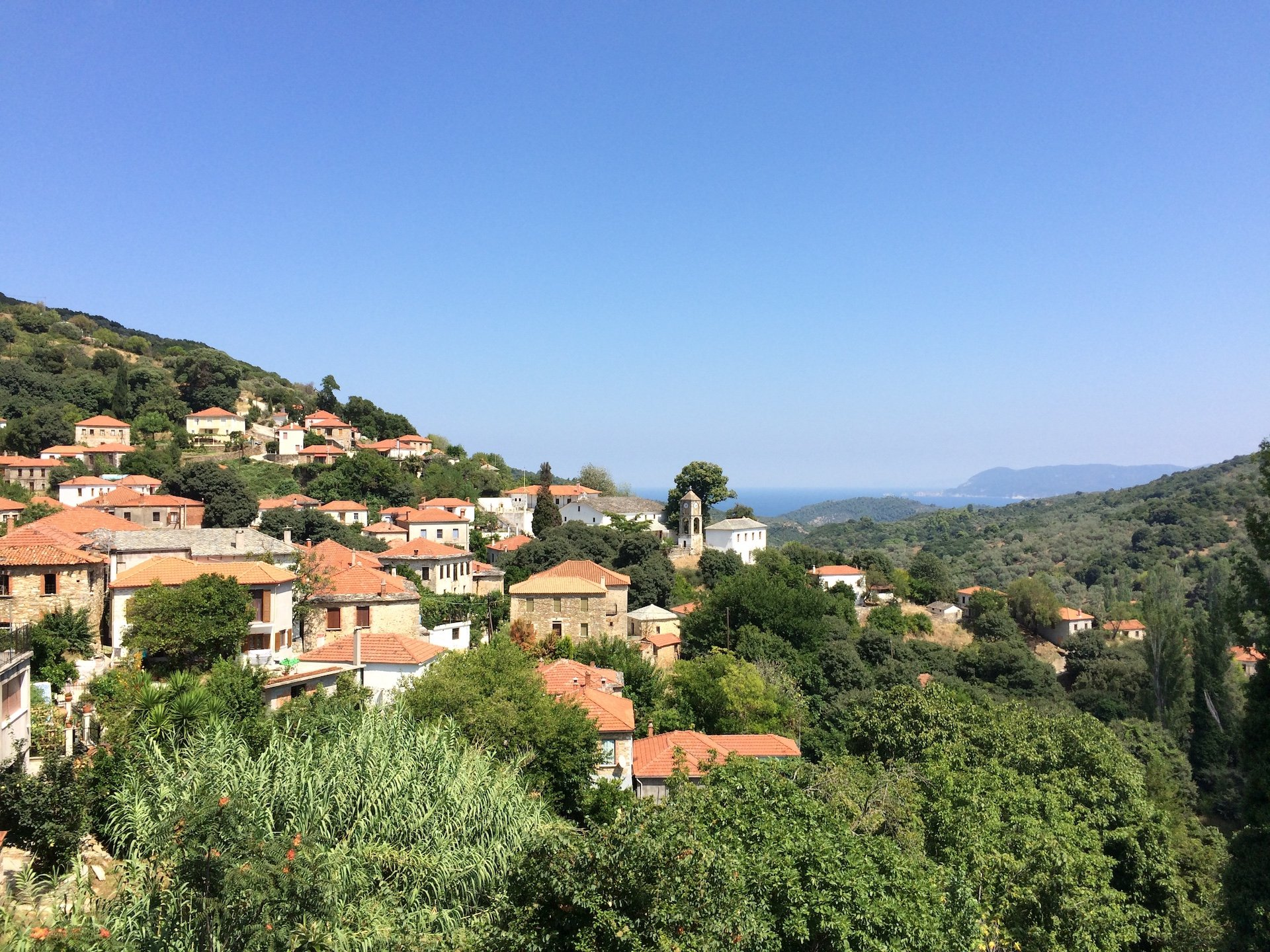 One of the picturesque villages with sea views built in Mount Pelion.