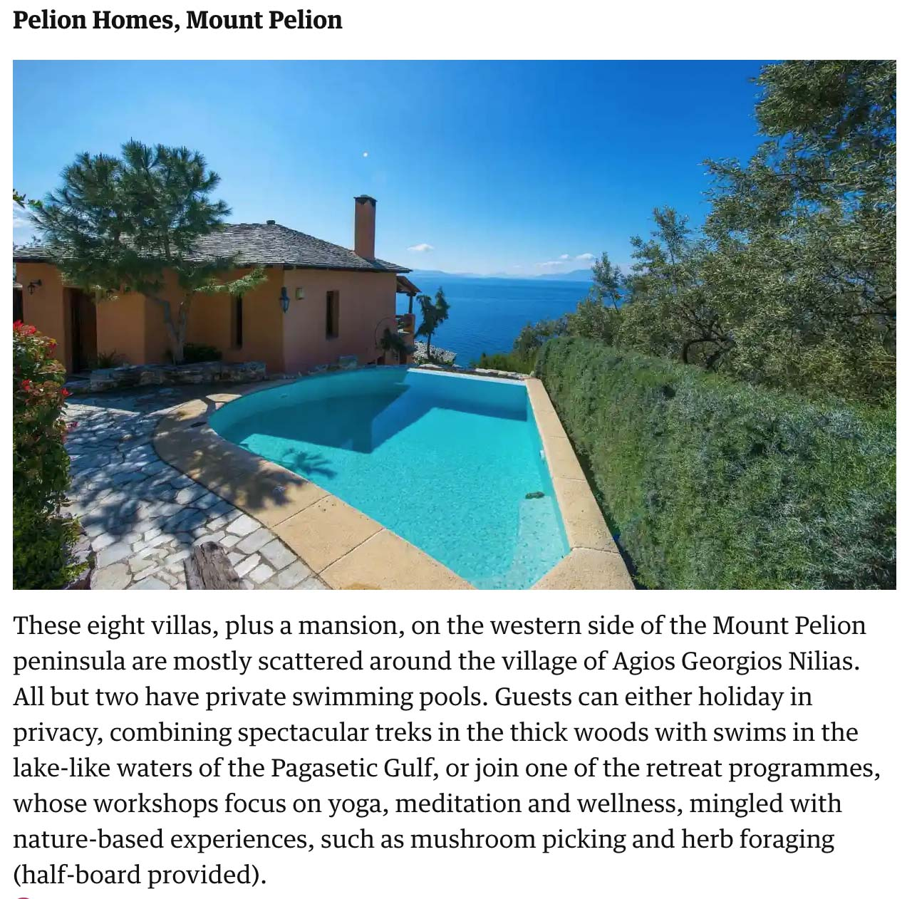 The Guardian, The 25 best places to stay in Greece
