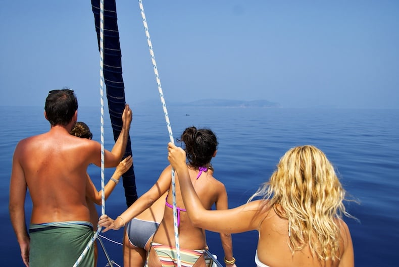 Dolphin spotting in private sailing cruise with Pelion Homes