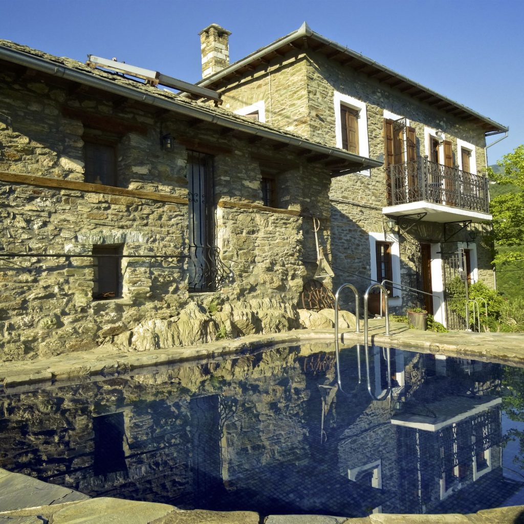 The private pool of Villa Koukouvara that accommodate up to 6 people.