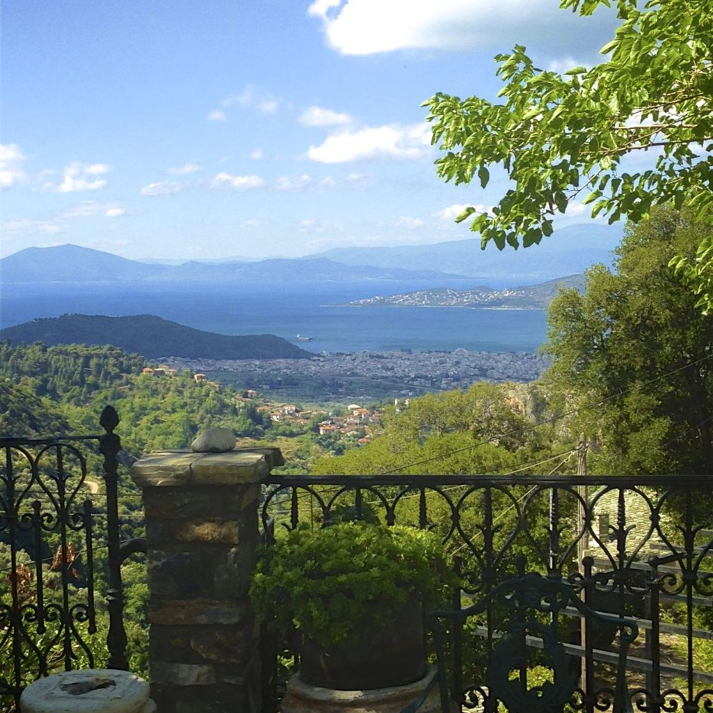 View of the Mount Pelion and Pagasitikos bay from Villa Koukouvara in Pelion.