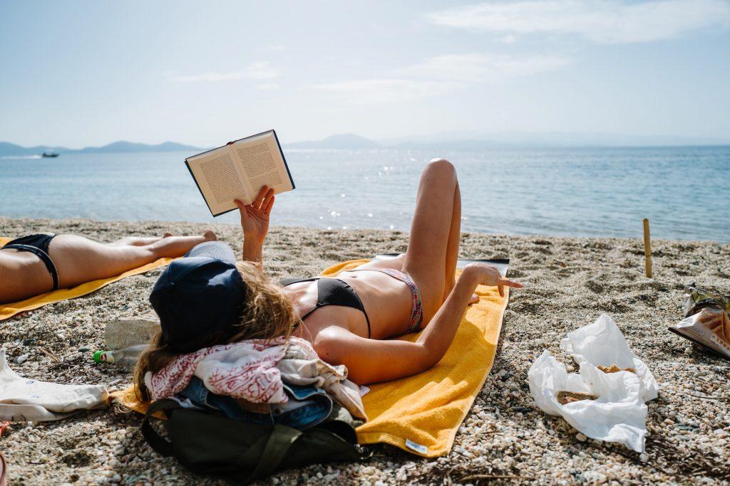 Relaxing on a beach in Pelion, Greece